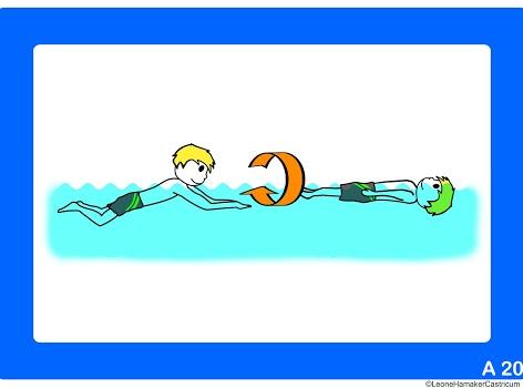 Instructiekaart voor zwemles aan doof kind